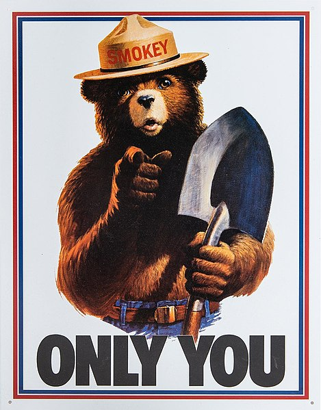 A campaign poster for wildfire prevention with Smokey the Bear and the slogan