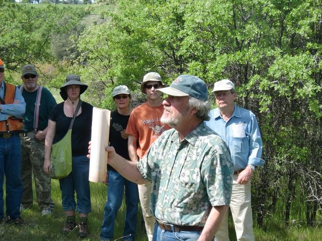 Doug McCreary speaking at an oak regeneration field day