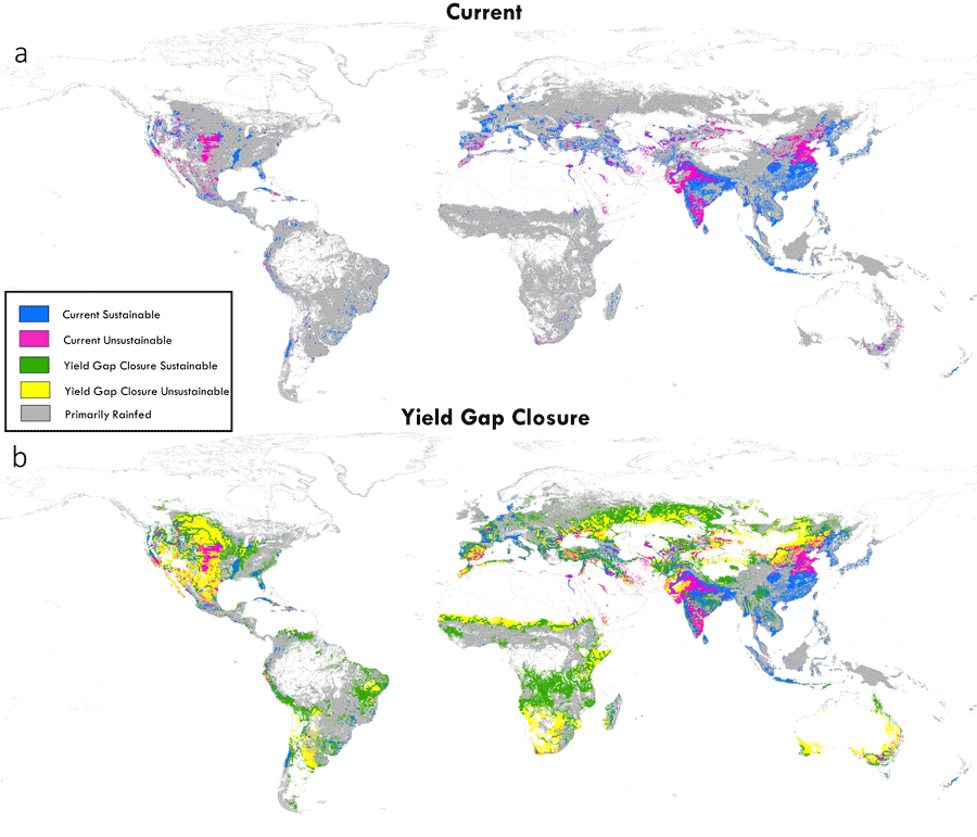 Figure from Kyle Davis showing where crop yield could be sustainable in such a model