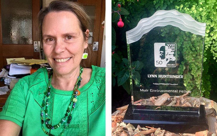 A headshot of Lynn Huntsinger next to a photo of her award from UCSD