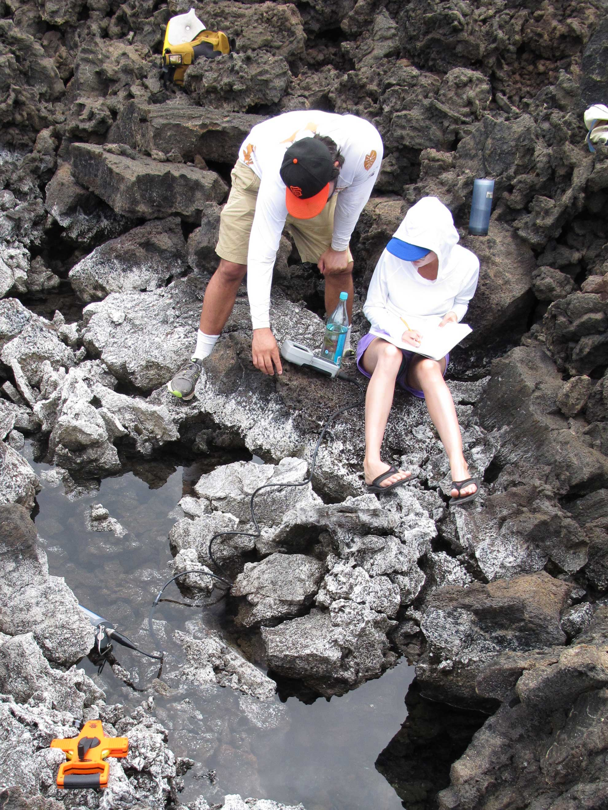 Image of a graduate student collecting data in a brackish anchialine pool