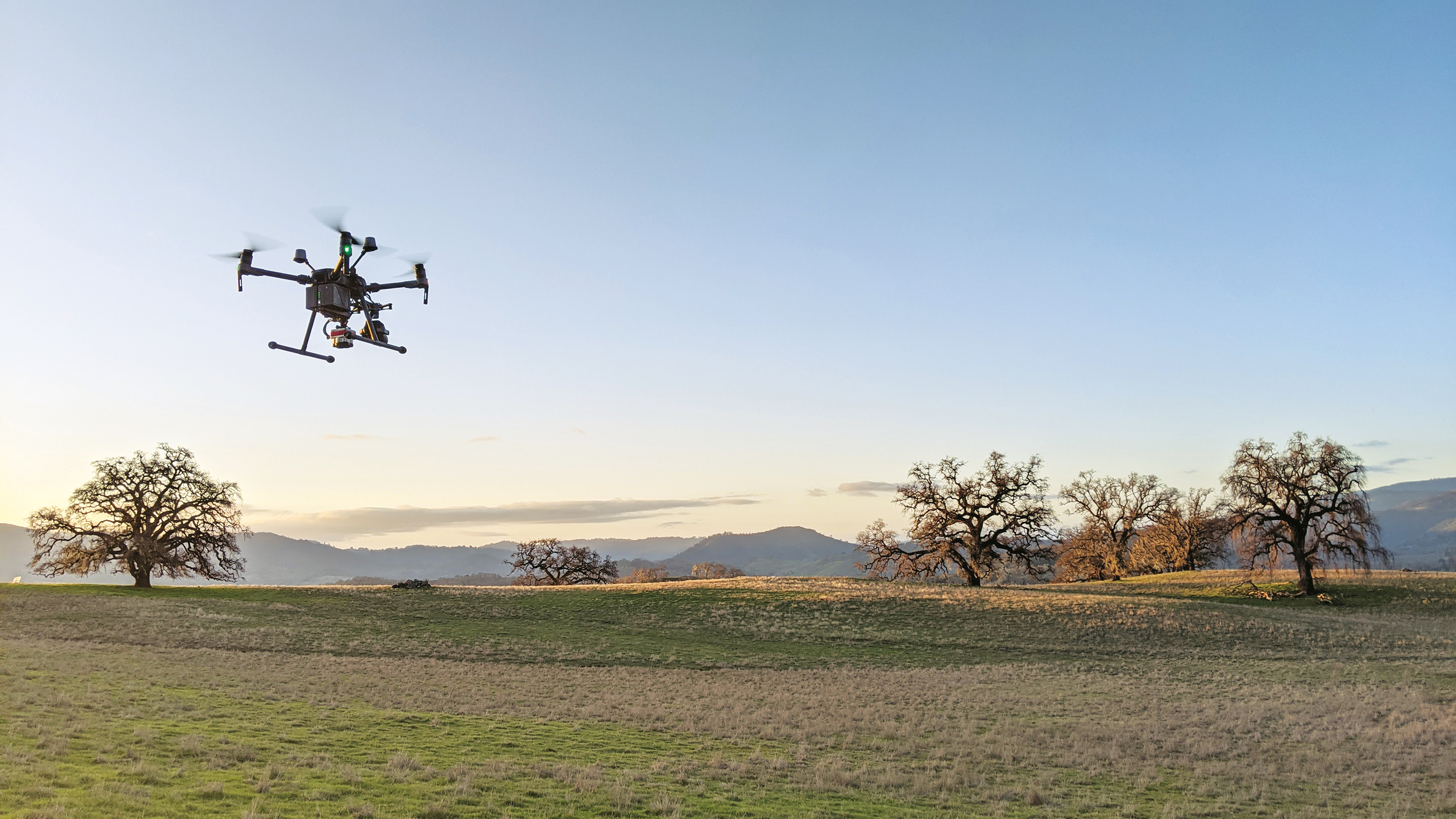 Drone flying above a landscape