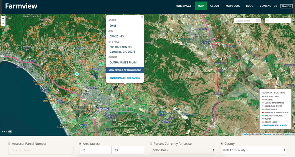 A screenshot of farm view software.