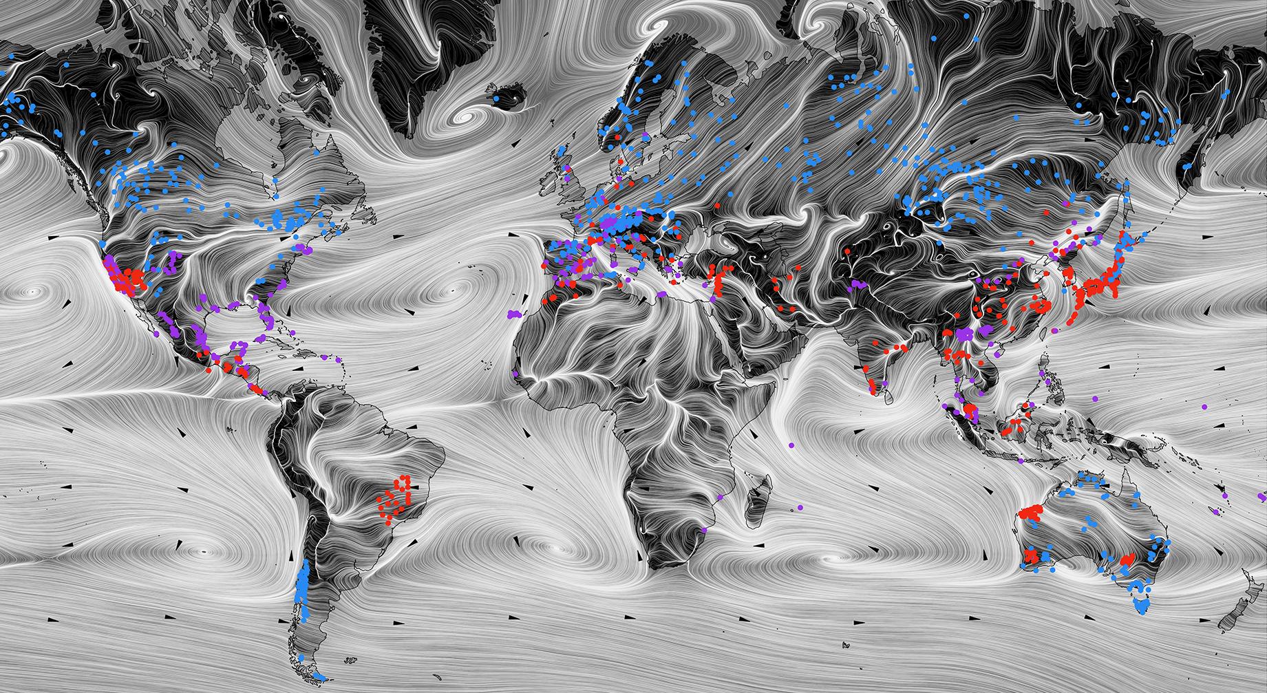 a visualization of wind patterns
