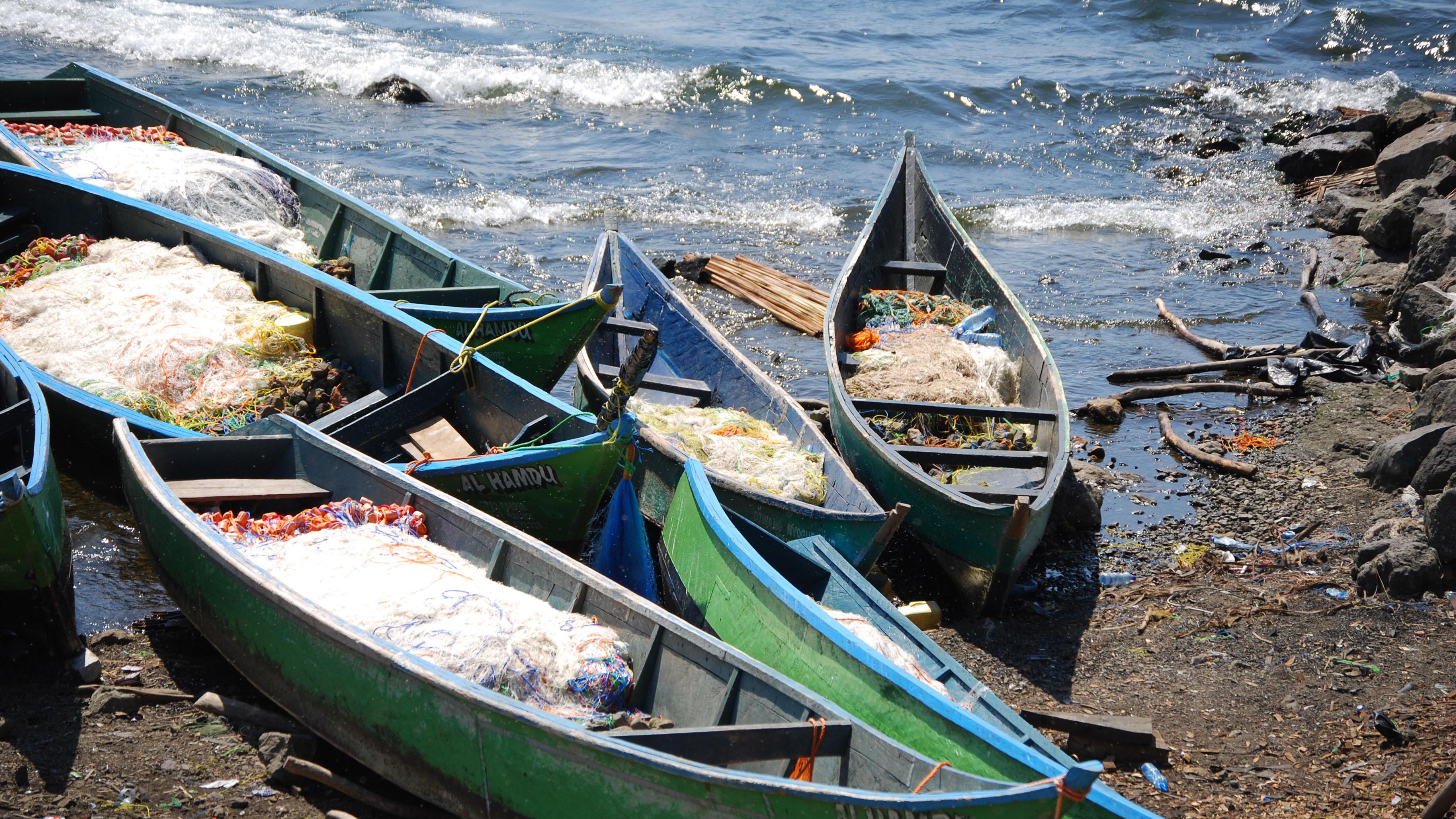 Fishing boats in Lake Victoria, Kenya