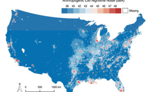 Map of United States' spatial distribution of anthropogenic nighttime noise