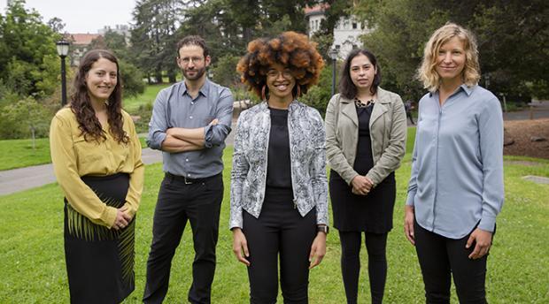 Meg Mills-Novoa, Daniel Aldana Cohen, Maya Carrasquillo, Danielle Zoe Rivera, and Zoé Hamstead standing together outdoors