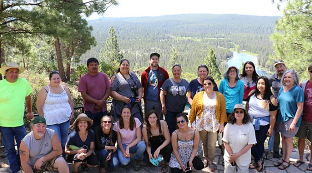 Tribal Food Security Project Team Members pose near the Klamath River