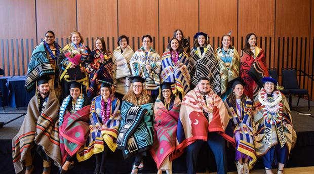 Students from UC Berkeley's American Indian Graduate Program commencement celebration in 2019