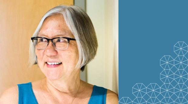 Inez Fung headshot on blue background with Berkeley tessalation