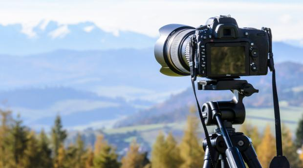 Camera taking a picture of a beautiful landscape