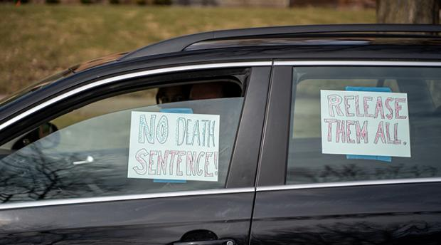A March 22, 2020 car caravan protest outside the Minnesota Governor's Mansion. While physically distancing, protesters called for the release of all immigrant detainees from Minnesota jails.