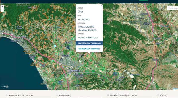 A screenshot of a map software