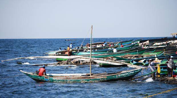 Fisherman and boats at Lake Victoria in Kenya