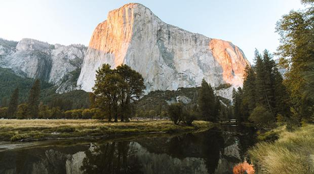 Granite wall and valley in Yosemite National Park