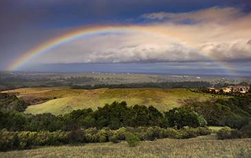 A rainbow over grasslands in California