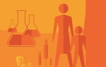 Illustration showing people, beakers, and crops