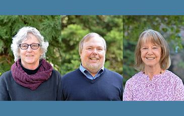 Greg Biging, Mary Firestone, Katherine Milton smiling in separate phoptos.