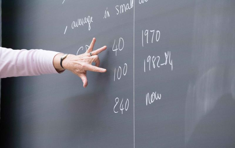 A hand gestures at a blackboard