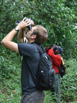 students observing monkeys