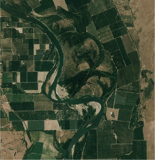 Aerial photo of a river