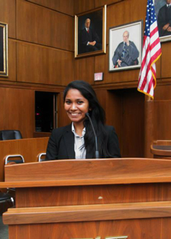 Radhika in a courtroom