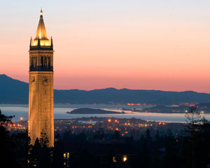 The campanile and San Francisco Bay at night