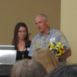 John Battles accepting the 2013 GSA Faculty Mentor Award from president Lauren Hallet