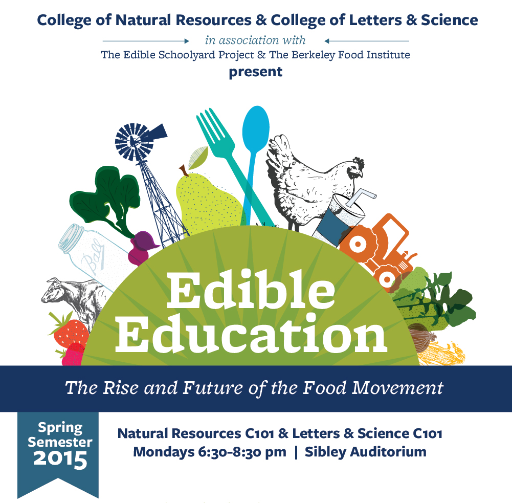 The College of Natural Resurces & College of Letters & Science, in association with The Edible Schoolyard Project & The Berkeley Food Institute,  present: Edible Education - The Rise and Future of the Global Food Movement